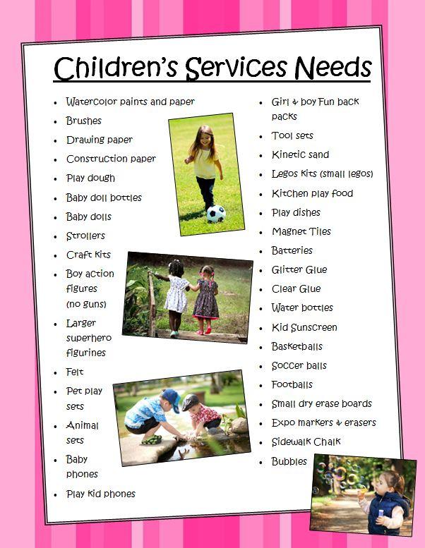 Children's Services Needs List